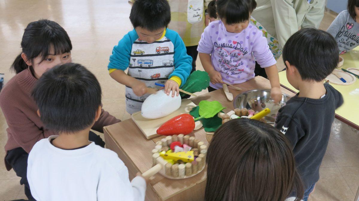 長沼保育園年少さんと手作りおもちゃで交流活動をしました